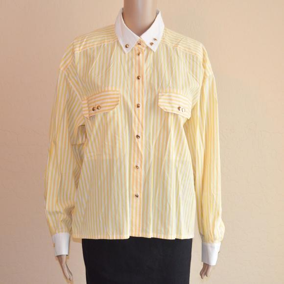 c4a8a03b28e29 Escada Tops - Escada Yellow   White Striped Button Down Shirt