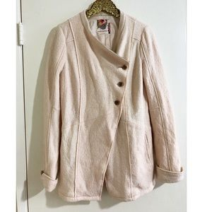 Free People Cream/Ivory Wool Blend Coat