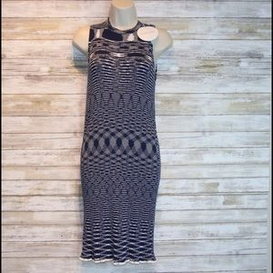 NWT See by Chloe navy/white stretchy dress sz L