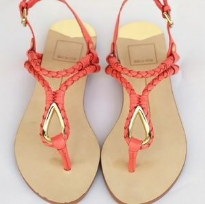DOLCE VITA Coral Pink Braided Sandals