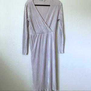 ASOS ribbed dress shimmery greyish cream