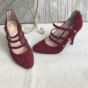 Vince Camuto Suede Cranberry strappy heels