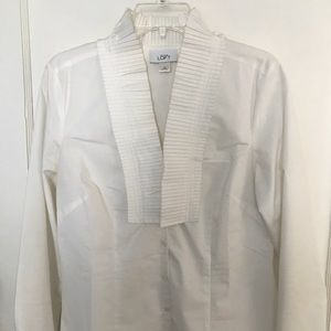 Loft white button up shirt