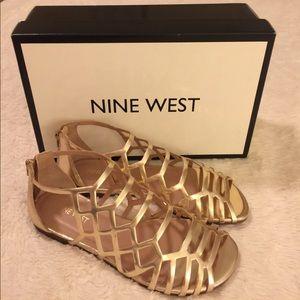 Gold Nine West Sandals