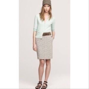J. Crew Vineyard Leaf Pattern Pencil Skirt