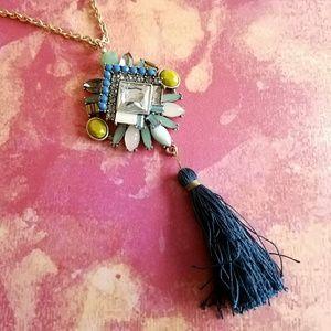 LOFT tassel necklace long jeweled gold tone