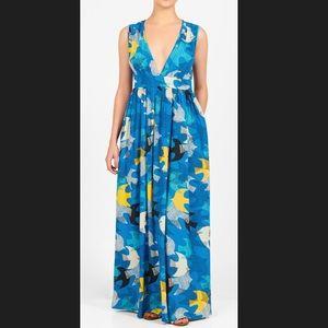 New Eshakti Bird Print Fit Flare Maxi Dress 26W
