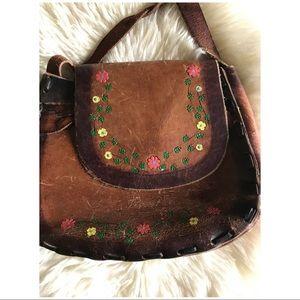 60s VTG Embossed Leather Saddle Bag