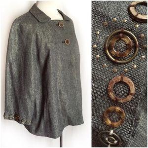 Coldwater Creek Metallic Embellished Swing Jacket