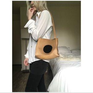 70s VTG Modernist Black Circle Leather Tote
