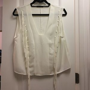 Zara Fringe White Tank Top