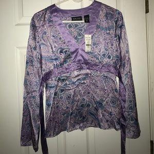 NY&Co Purple Paisley Long Sleeve Silk  Blouse