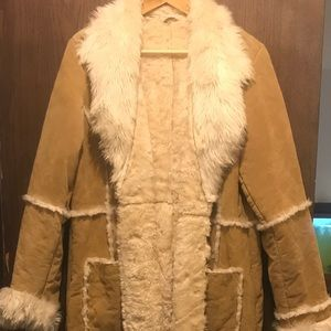 Wilson full length suede leather fur coat.Stunning