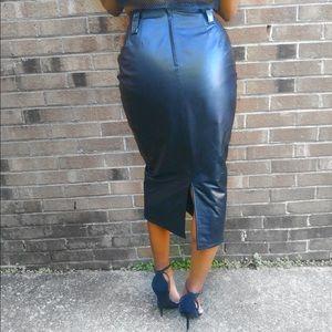 High waisted vintage leather skirt