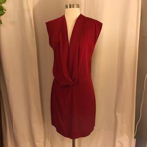 Diane Von Furstenberg red drape dress 4
