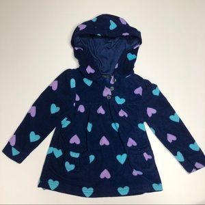 Fleece Heart Print Hooded Pullover