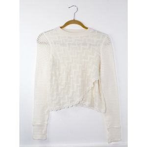 Free People Ivory Crochet Knit Cropped Sweater