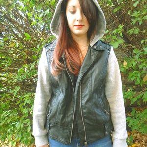 Jackets & Blazers - Faux Leather Zip Up Moto Biker Jacket With Hoodie