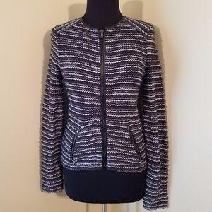 Mohair Black, Gray & Silver Stripe Zip Cardigan
