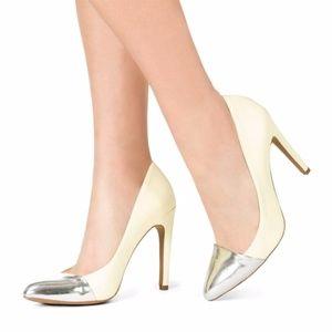 JustFab Bel-Air Heels with Silver Cap Toe