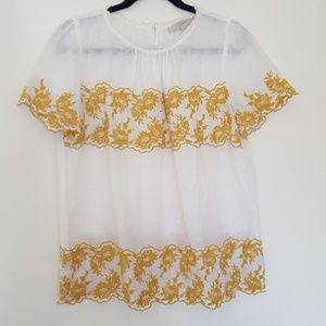 LOFT Embroidered Linen Top