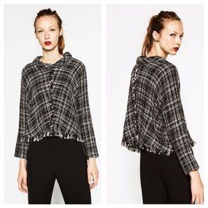 Zara Frayed Tweed Sweater
