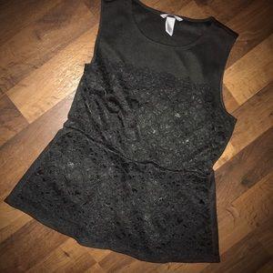 H&M black lace/waffle sleeveless top