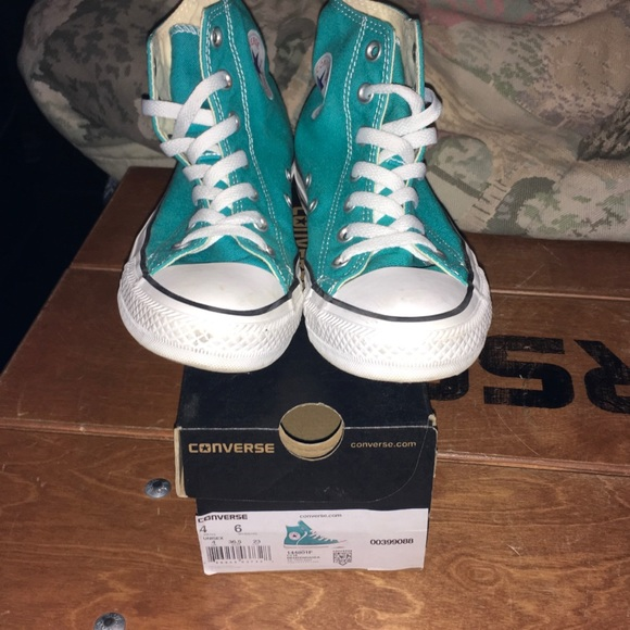 4ebf6c80173c Converse Shoes - Mediterranean Blue Converse high tops