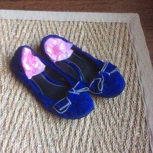 Cobalt blue suede zipper bow ballerina flats