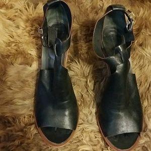 Authentic Balenciaga black leather peep toe heels