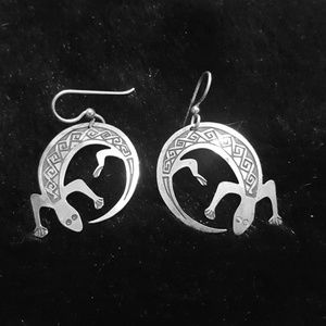 Southwestern silver lizard earrings