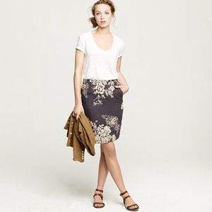 J.Crew Embroidered Pencil Skirt