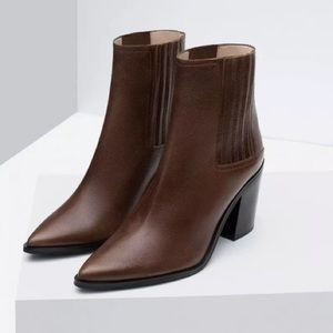 Zara Brown Leather Ankle Boots