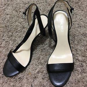 Nine West black one strap heels