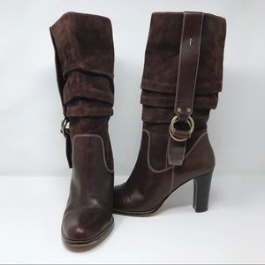 Nine West Slouchy Suede Heeled Buckle Boots