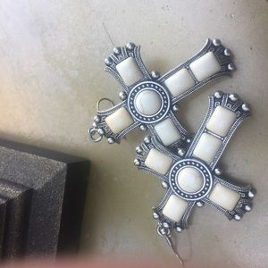 Stony cross earrings