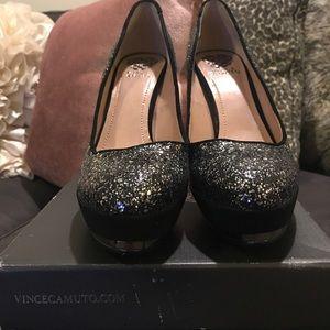 Vince Camuto Black Confetti Suede heels