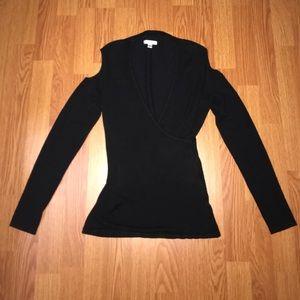 Cache open shoulder wrap sweater