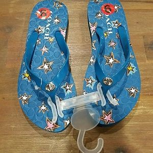 NWT Coach Teal blue and Stars toggle flip flop, 6