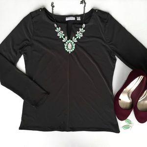 NY& Co. Long Sleeve Black Top