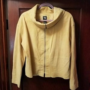 Yellow Suede Funnel Neck Jacket