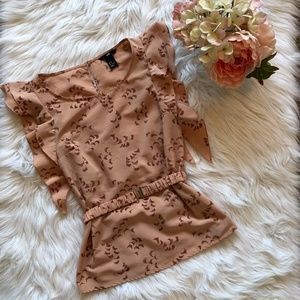 H&M Butterfly Sleeve Nude Pink Blouse