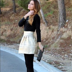 LM LULU Gold Pleated Skirt