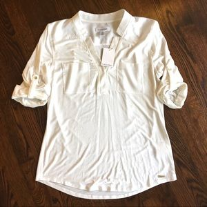 Calvin Klein Modern Essentials Cream Top Small NWT