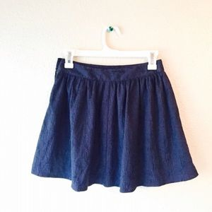 NWOT Forever 21 Navy Embroidered circle skirt S