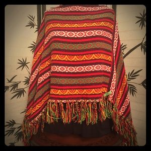 Vintage Hippy Boho Mexican hand made Poncho