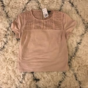 XX1 Pink Faux Suede Crochet Detail Cropped Top NWT