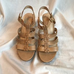 Franco Sarto Nude Strappy Sandals