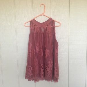NWOT Gorgeous Dark Pink Lace Blouse