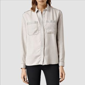 All Saints Riva Button Down Shirt in Gray